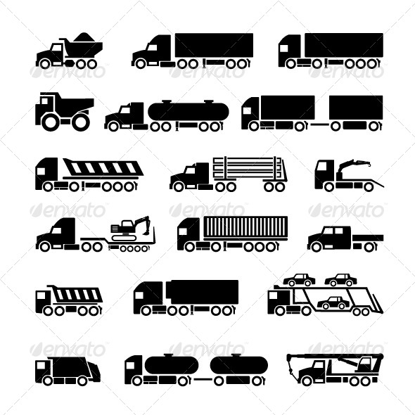 GraphicRiver Trucks Trailers and Vehicles Icons Set 6808205