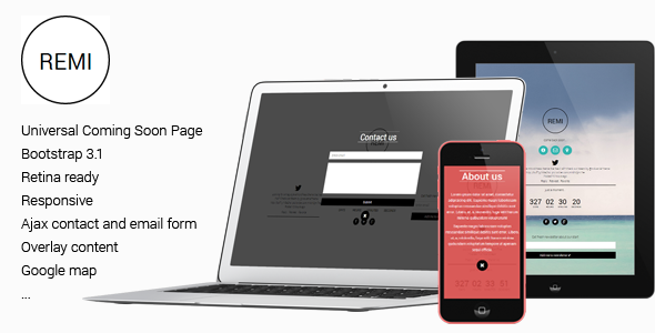 Remi - Responsive Universal Flat Coming Soon Page