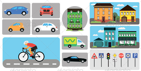 City Infographics Building Car Traffic Signs