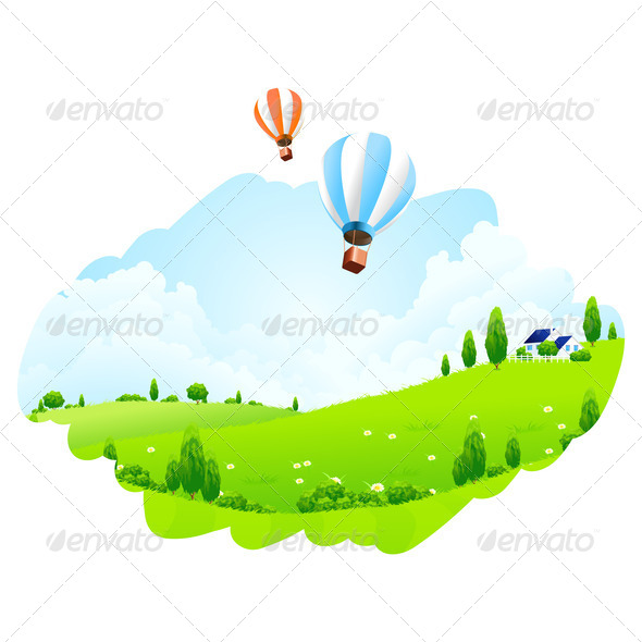 Green Landscape with Balloons - Stock Photo - Images