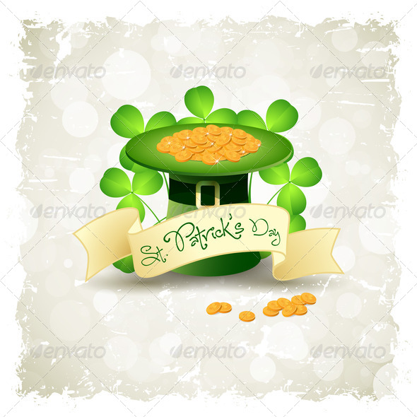 Grungy Patrick's Day Card with  Leprechaun Hat - Stock Photo - Images