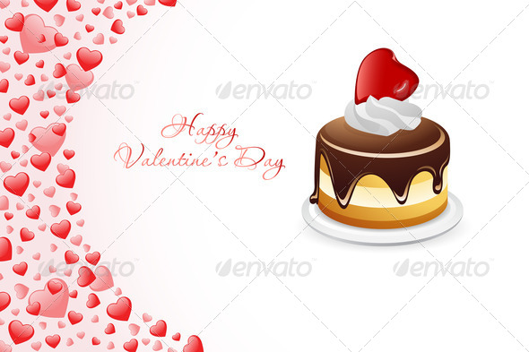 Valentine's Day Card with Cake - Stock Photo - Images