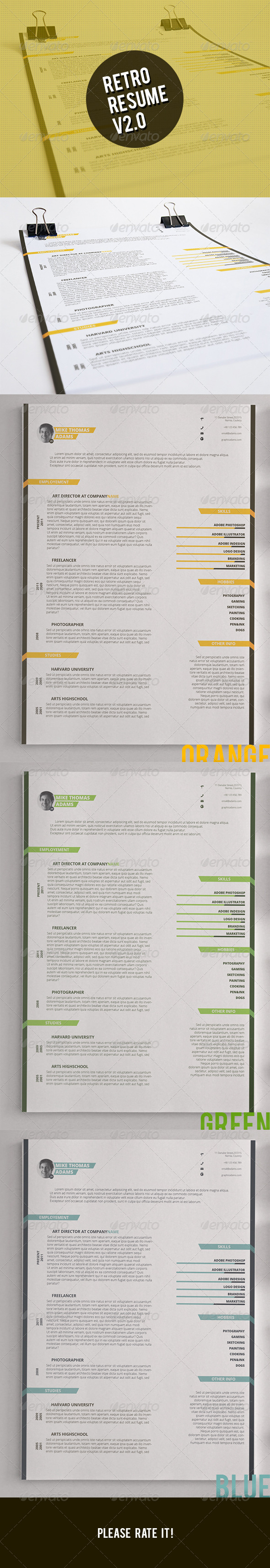 GraphicRiver Retro Resume V2.0 6808871
