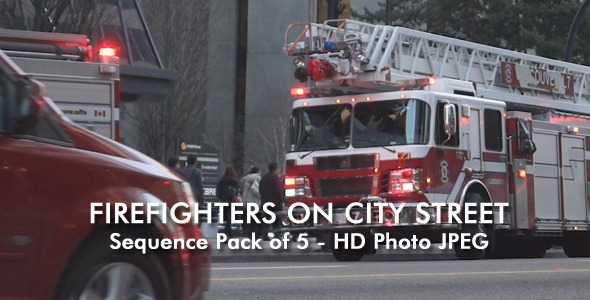Firefighters On City Street 5-pack