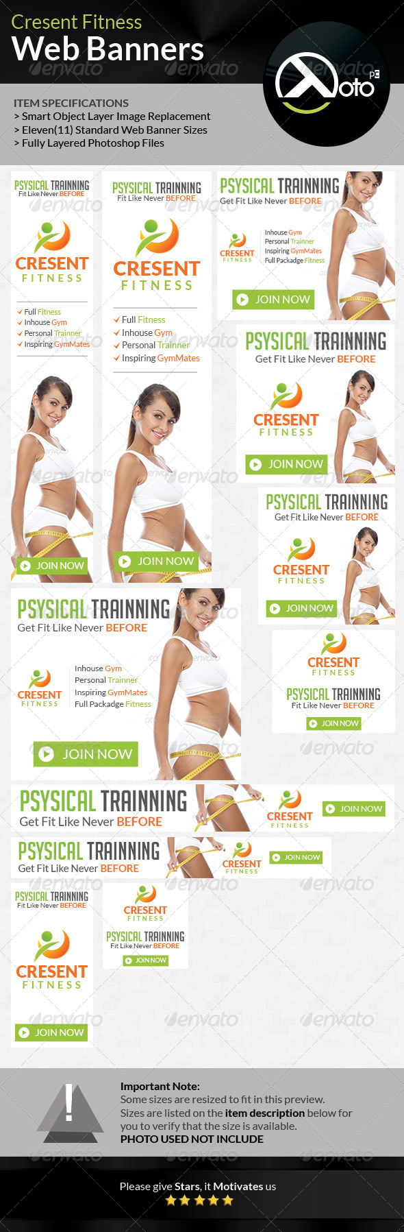 GraphicRiver Cresent Fitness Health Web Banners 6810307