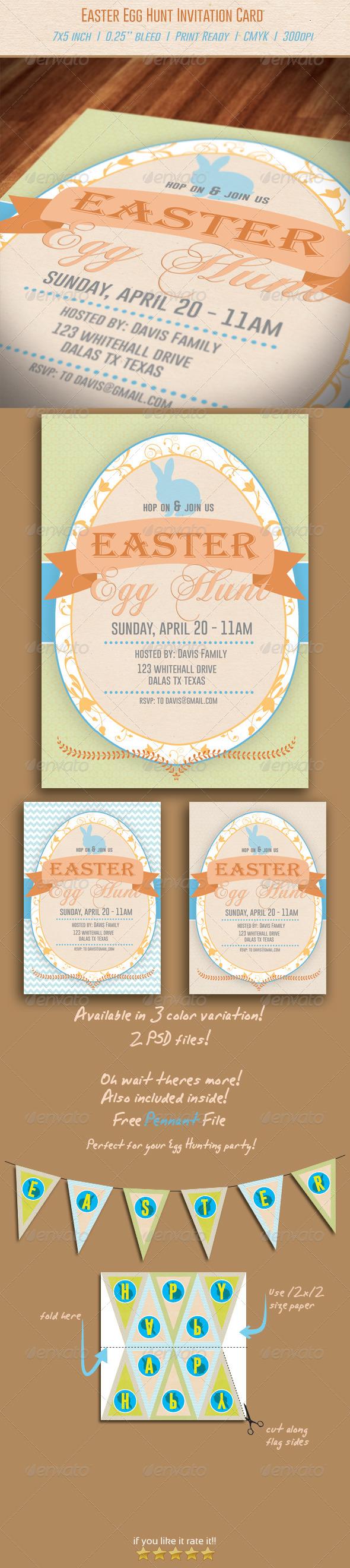 GraphicRiver Easter Egg Hunt Invitation 6810363