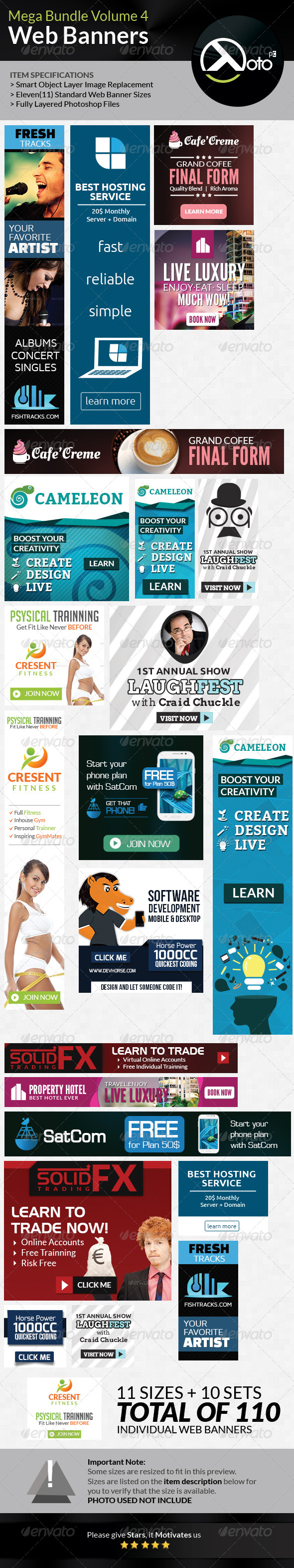 10 Set Mega Bundle Mix Web Banners Vol 4 - Banners & Ads Web Elements