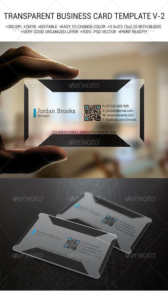 GraphicRiver Transparent Business Card Template V-2 6811341