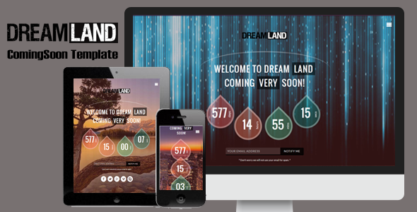 Dreamland - Responsive Coming Soon Page - Under Construction Specialty Pages
