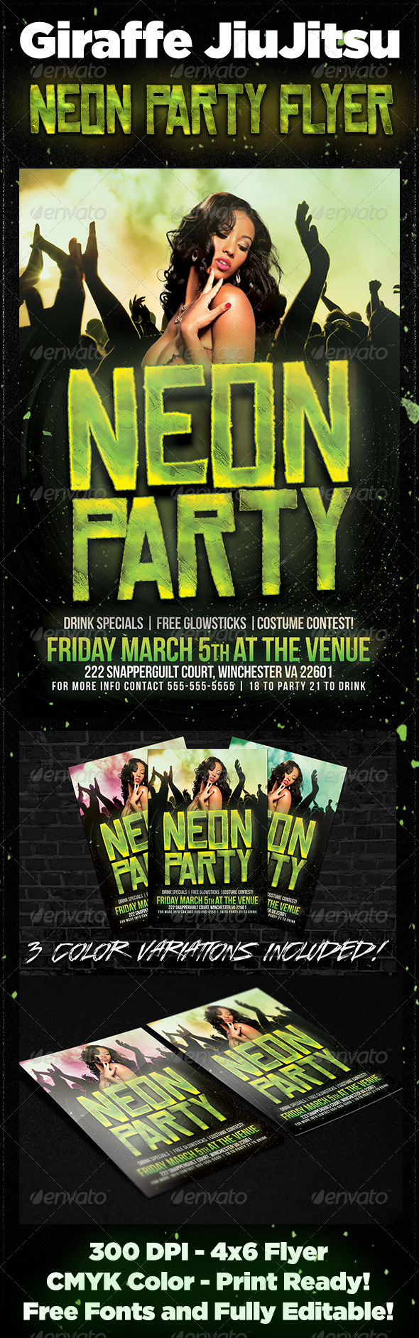 GraphicRiver Neon Party Flyer 6800669