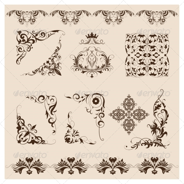 GraphicRiver Set of Vector Damask Ornaments 6812256