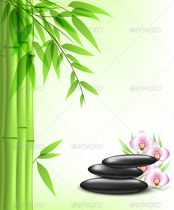 GraphicRiver Green Bamboo and Spa Stones 6812374