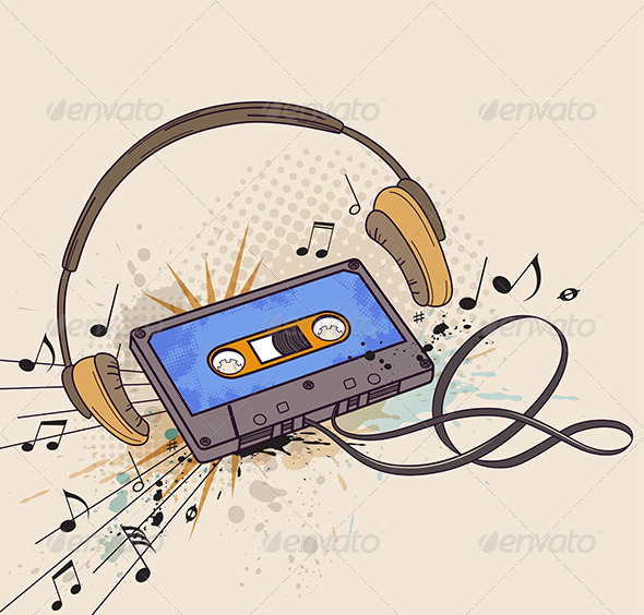 GraphicRiver Audio Cassette and Headphones 6812381