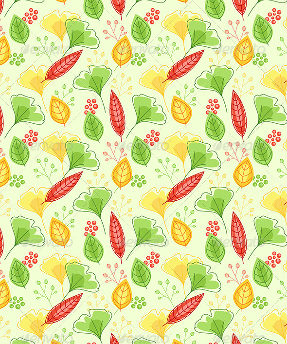GraphicRiver Seamless Pattern with Green and Yellow Leaves 6812389
