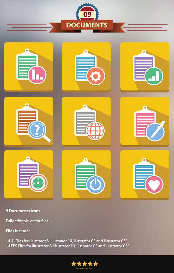 GraphicRiver 9 Documents Icons 6812390