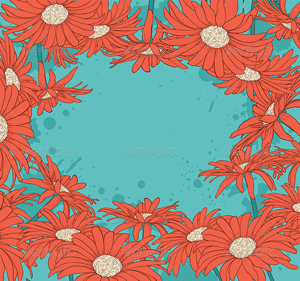 GraphicRiver Background with Red Flowers 6812405