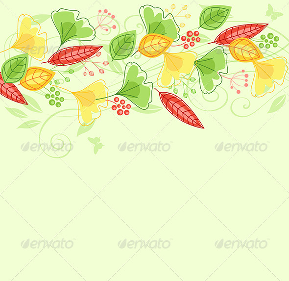 GraphicRiver Background with Green and Yellow Leaves 6812449