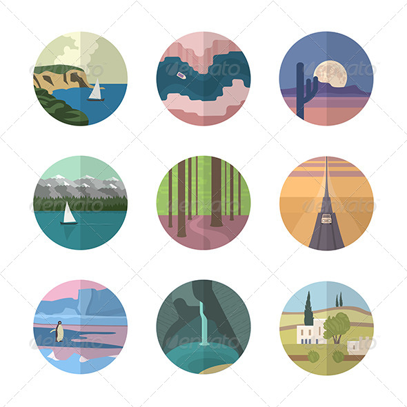 GraphicRiver Landscapes Icons Collection 6812548