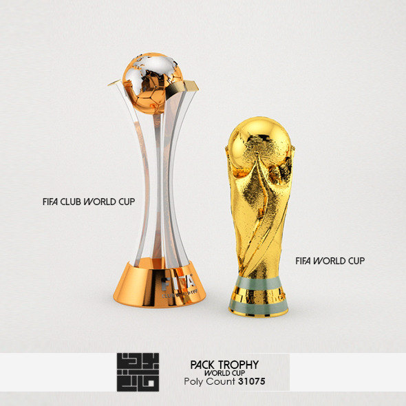 3DOcean Pack Of World Cup Trophies 3D Model 6812803