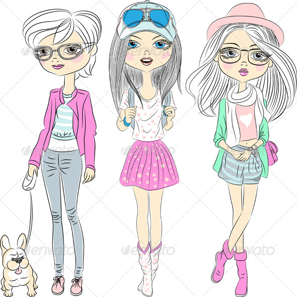 GraphicRiver Hipster Fashionable Girls Set 6812924