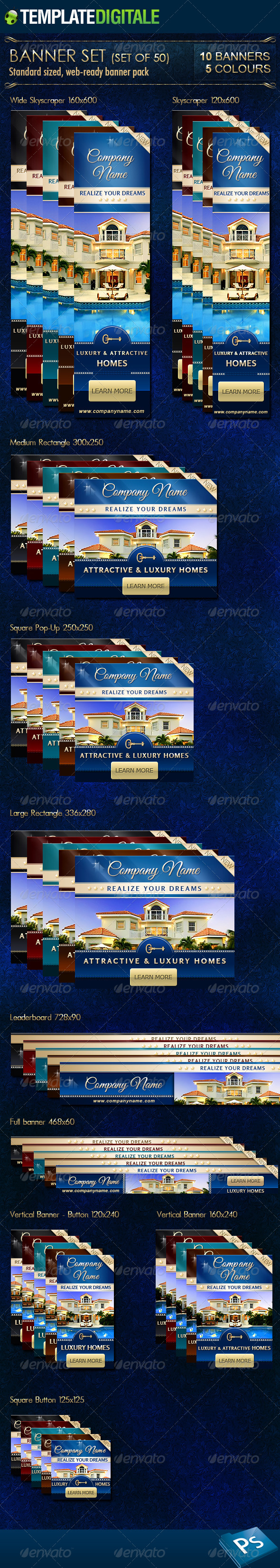 GraphicRiver Luxury Real Estate Banner Set 6812948