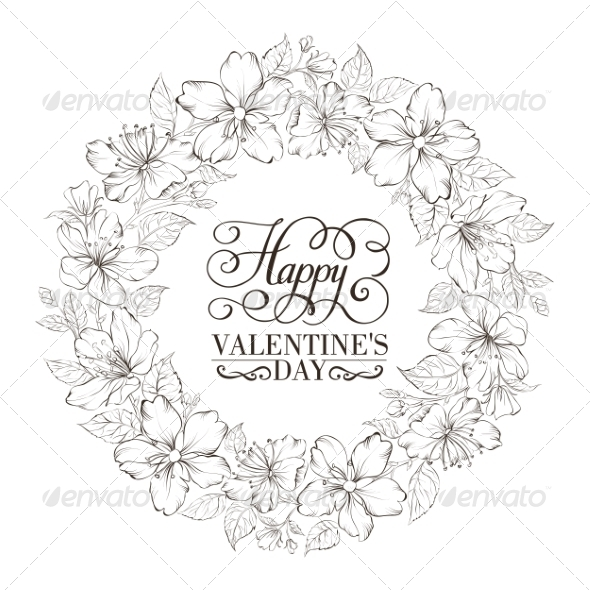 GraphicRiver Floral Wreath Valentine Design 6812995