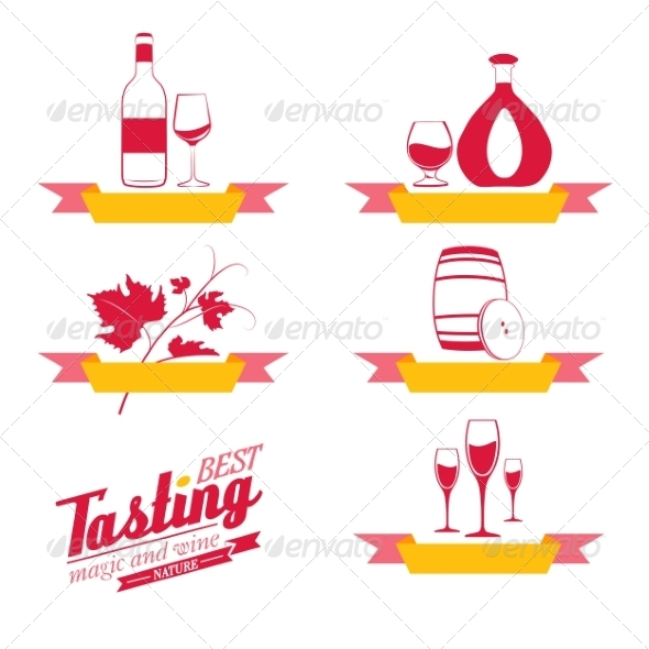 GraphicRiver Labels Set of Drinks for Restaurant and Cafe 6813019