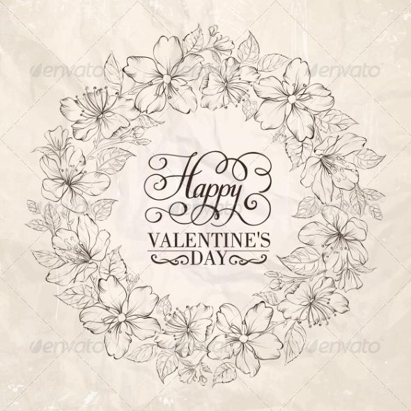 GraphicRiver Floral Wreath Valentine Design 6813026