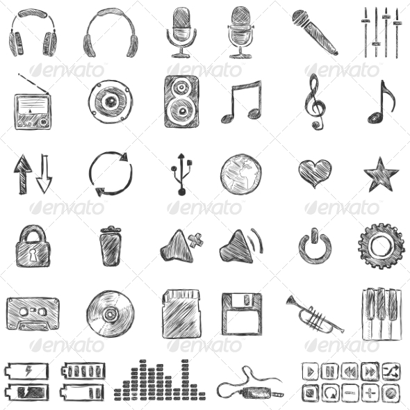 GraphicRiver Set of Sketch Music Icons 6813181