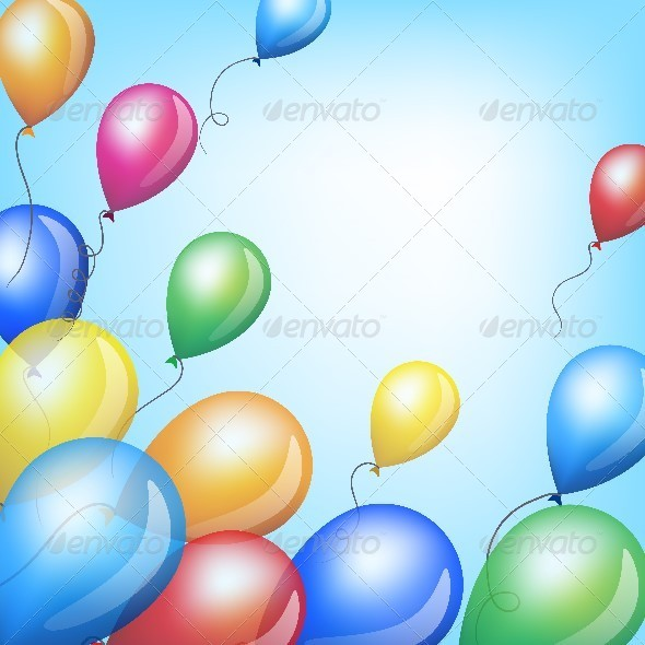 GraphicRiver Holiday Background with Colorful Balloons in Sky 6813387
