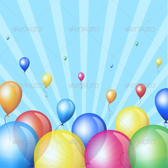 Holiday Background with Colorful Balloons in Sky
