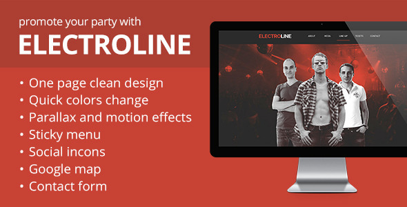 ElectroLine - Event Promo Muse Template - Landing Muse Templates