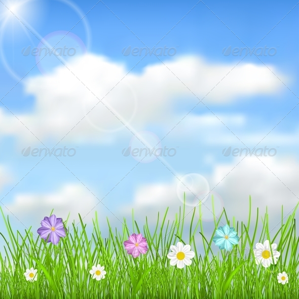 GraphicRiver Background with Sky Clouds Grass and Flowers 6815131
