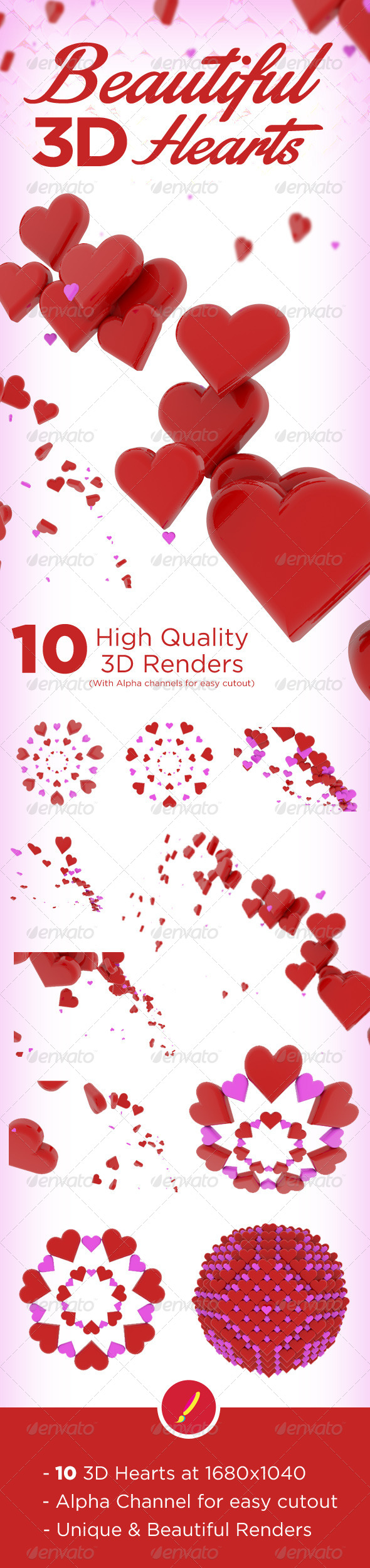 GraphicRiver 10 Beautiful 3D Hearts 6815291