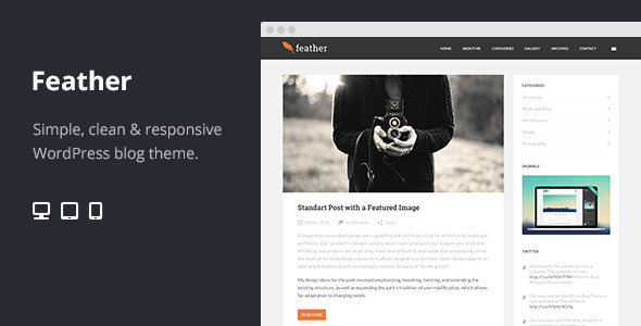ThemeForest Feather Clean Flat Responsive WordPress Blog Theme 6815330