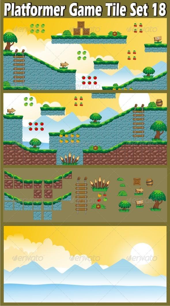 GraphicRiver Platformer Game Tile Set 18 6815442