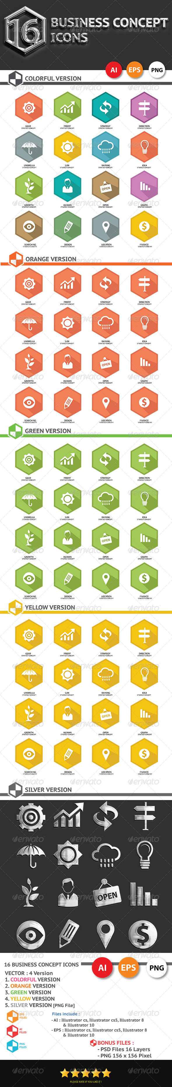 GraphicRiver 16 Business Concept Icons 6815542