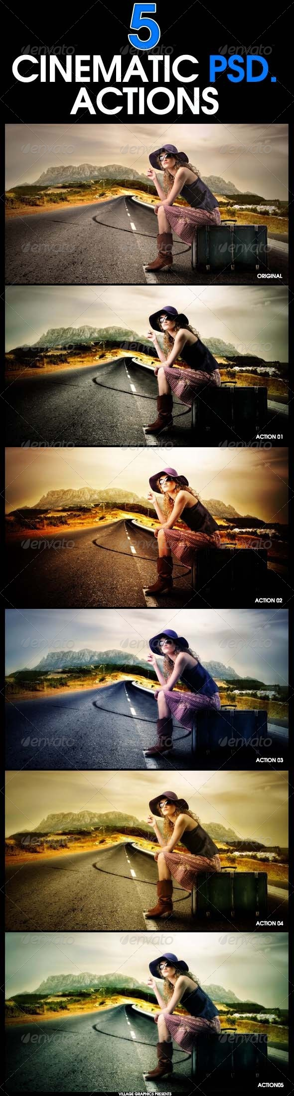 GraphicRiver 5 Cinematic Photoshop Actions 6815680