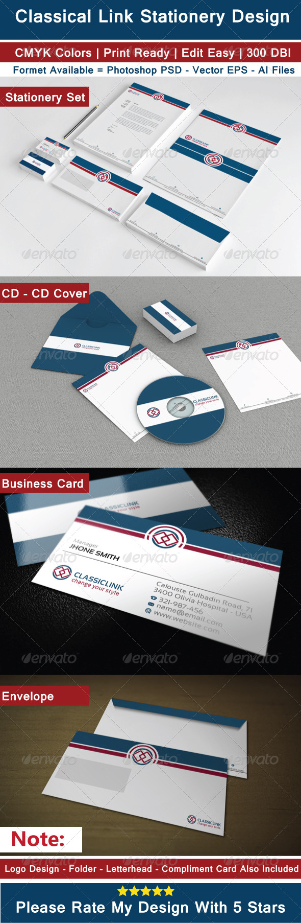 GraphicRiver Clean Classical Stationery Design 6816058