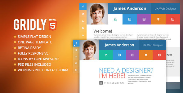 Gridly Personal vCard & Portfolio HTML - Personal Site Templates