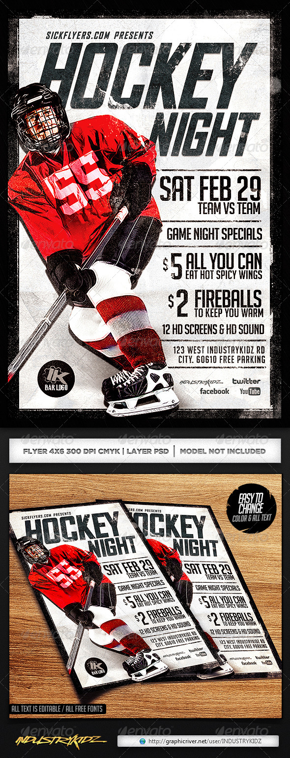 GraphicRiver Hockey Game Night Flyer Template 6816623
