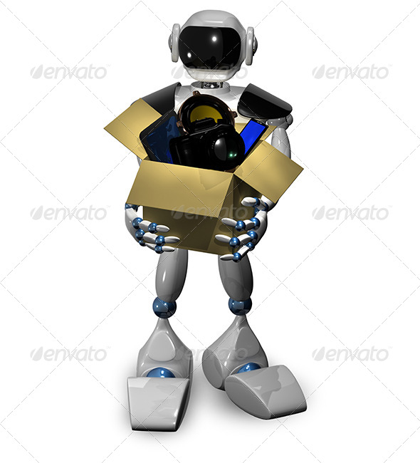 GraphicRiver Robot with box 6816661
