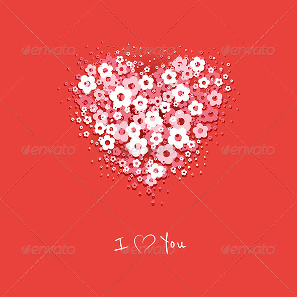 GraphicRiver Flower Heart Card 6817107