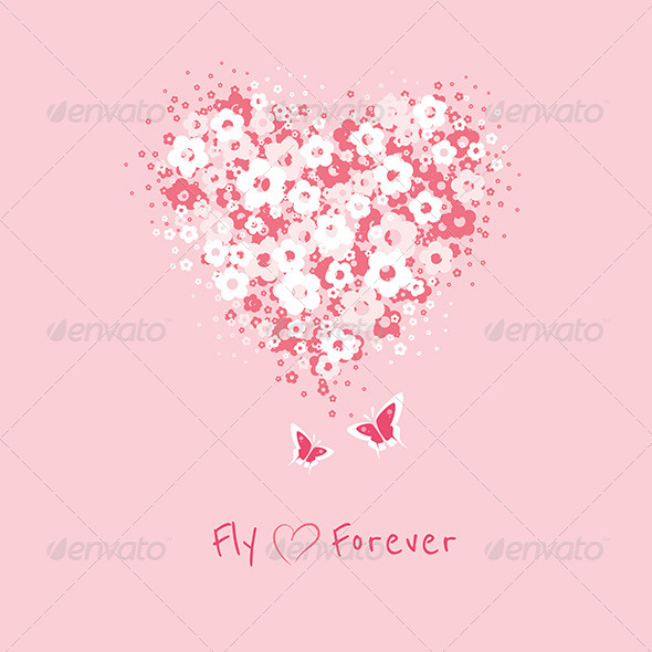 GraphicRiver Flower Heart with Butterflies Card 6817125