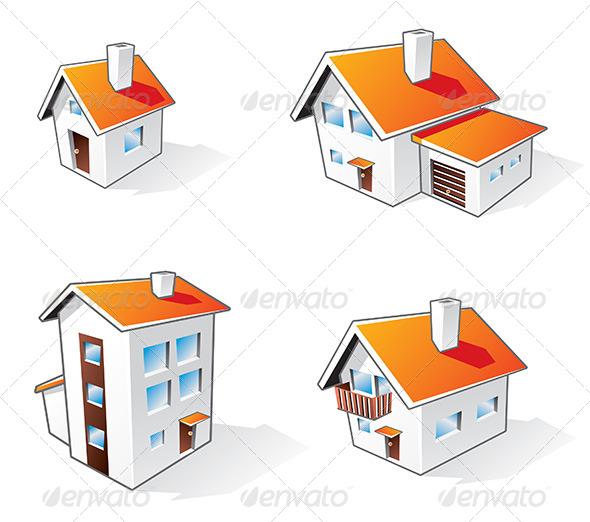 GraphicRiver Four Houses Cartoon Icons 6817159
