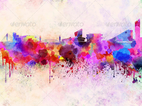 Manchester skyline in watercolor background - Stock Photo - Images
