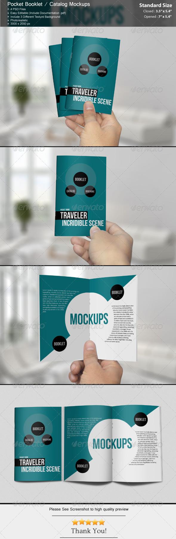 GraphicRiver Pocket Booklet Catalog Mockups 6817881