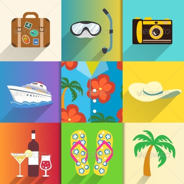 GraphicRiver Travel and Vacation Icons Set 6818062