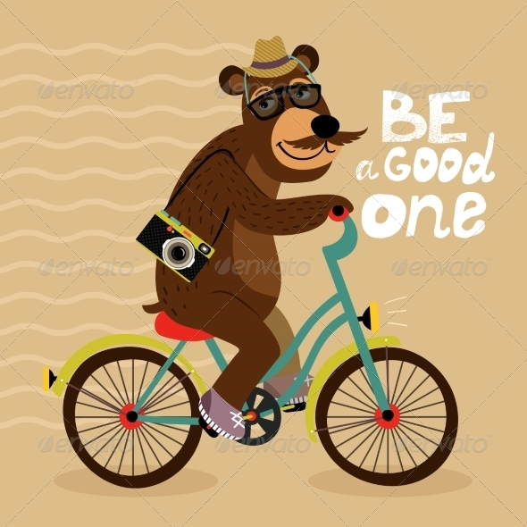GraphicRiver Hipster Poster with Geek Bear 6818074
