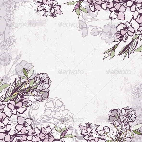 GraphicRiver Decorative Frame with Blossoming Cherry or Sakura 6818077